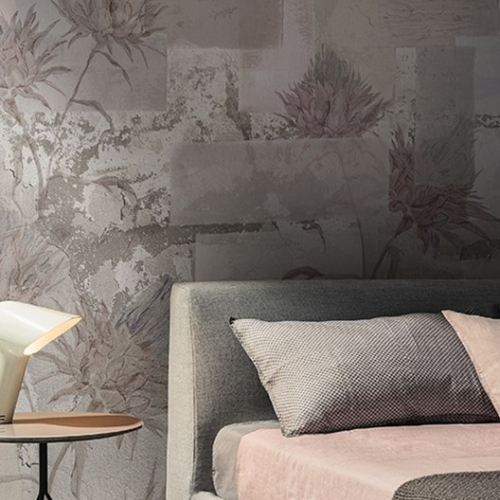 Mural Wall Deco Kwiaty Beton Pudrowy Roz Magic Home